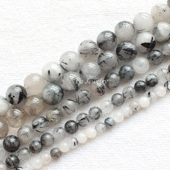 NaturalNatural Black kvarca Rutilated 6-12mm Kārta Beads15